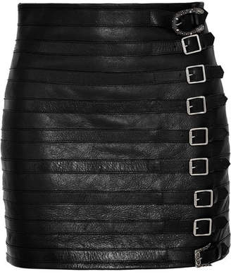 Gucci Buckle-embellished Textured-leather Mini Skirt - Black