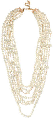 Gold-plated, Crystal And Faux Pearl Necklace - White