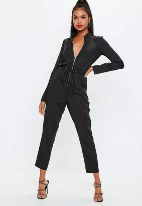 Missguided Black Utility Zip Front Romper