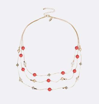 Avenue Three Row Tri Tone Bead Necklace