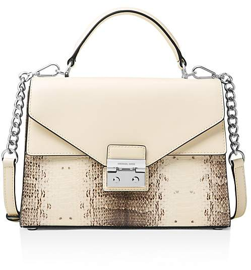 Michael Kors Sloan Medium Double Flap Leather Satchel - NATURAL/LIGHT CREAM/SILVER - STYLE