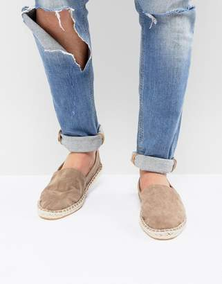 Asos Design DESIGN Espadrilles In Stone Faux Suede With Back Pull