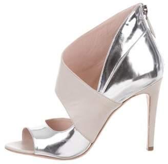 Miu Miu Leather Peep-Toe Ankle Booties Silver Leather Peep-Toe Ankle Booties