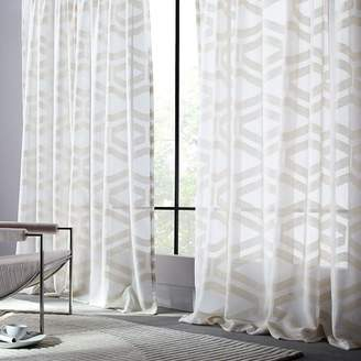 west elm Semi-Sheer Clipped Jacquard Curtain - Ivory
