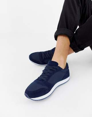 Asos Design DESIGN sneakers in navy faux suede and mesh