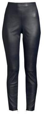 St. John Stretch Nappa Leather Cropped Leggings