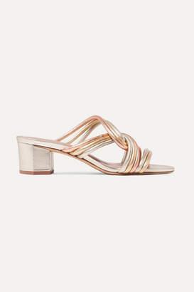 Diane von Furstenberg Jada Knotted Metallic Leather Mules - Gold