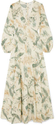 Zimmermann Printed Cotton-voile Maxi Dress - Gray green