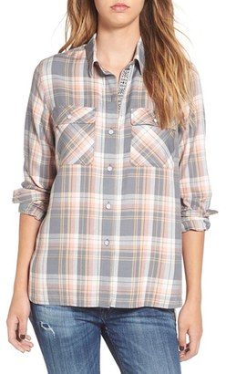 Roxy 'Sunday Funday' Plaid High/Low Shirt $49.50 thestylecure.com