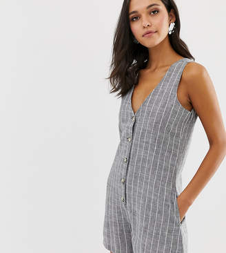 NATIVE YOUTH playsuit in chambray stripe