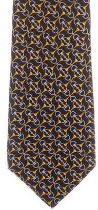Fendi Silk Horsebit Print Tie