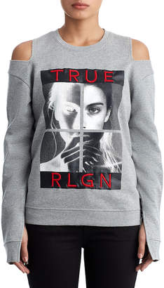 True Religion WOMENS LONG SLEEVE COLD SHOULDER GRAPHIC TEE