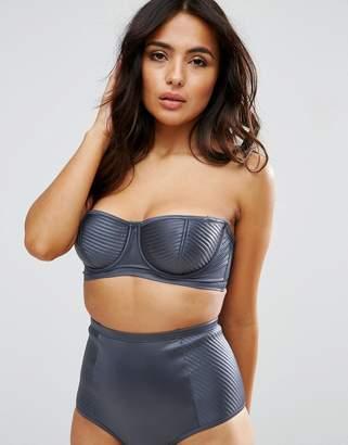 Asos DESIGN FULLER BUST Satin Stitch Longline Bikini Top DD-F