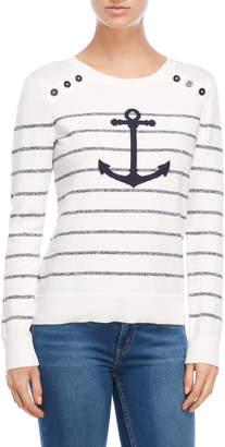 Nautica Striped Anchor Sweater