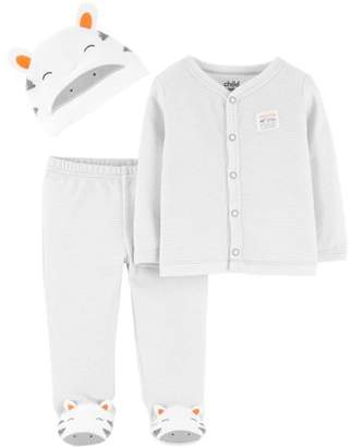 Carter's Child of Mine by Long Sleeve Cardigan, Footed Pants & Cap, 3pc Outfit Set (Baby Boys or Baby Girls Unisex)