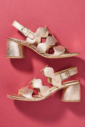 Bruno Premi Scalloped Heeled Sandals