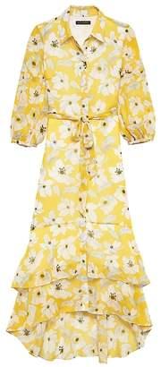 Banana Republic Petite Floral Tiered Maxi Shirt Dress