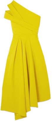 Preen by Thornton Bregazzi Danica Asymmetric Pleated Stretch-crepe Dress - Bright yellow