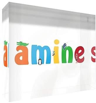 clear Little Helper Souvenir Decorative Polished Acrylic Diamond Style Example Amine Boy with Name Coloured 10.5 x 15 x 2 cm Large
