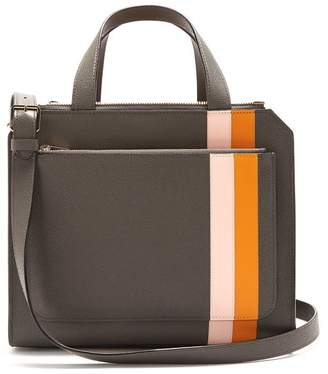 Valextra Passepartout Medium Striped Leather Bag - Womens - Grey Multi