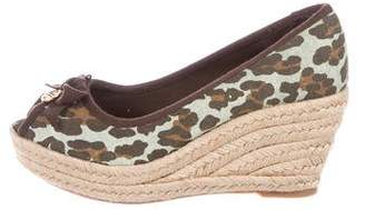 Tory Burch Animal Print Espadrille Wedges