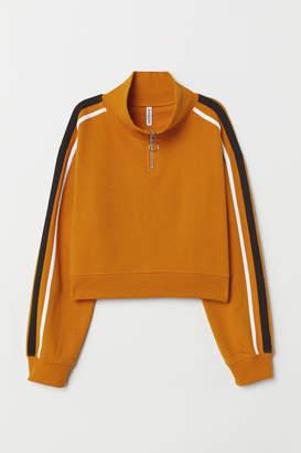 H&M Stand-up Collar Sweatshirt - Yellow