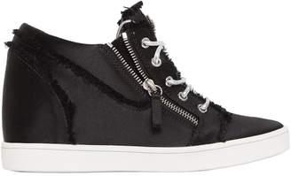 Giuseppe Zanotti Design 80mm Fringed Satin Wedged Sneakers