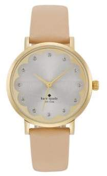 Kate Spade Novelty Metro Scalloped Goldtone Stainless Steel & Vachetta Leather Strap Watch