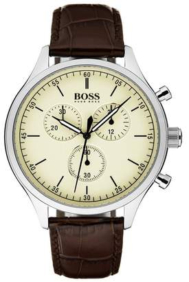 BOSS Companion Chronograph Leather Strap Watch, 42mm