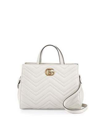 Gucci GG Marmont Small Matelassé Top-Handle Bag, White $1,890 thestylecure.com