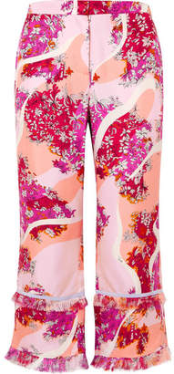 Emilio Pucci Fringed Printed Silk-twill Wide-leg Pants - Pink