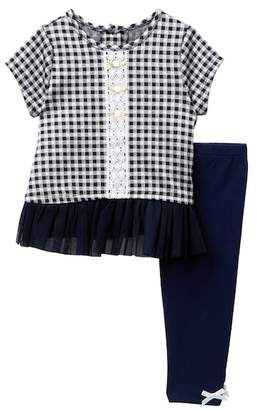 Pippa Pastourelle by and Julie Short Sleeve Plaid Tunic & Leggings Set (Baby Girls 0-9M)