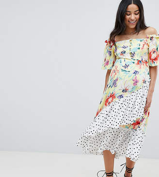 Asos DESIGN Maternity bandeau midi dress with ruffle detail in mixed print
