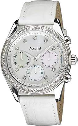 Accurist Women's Quartz Watch with Silver Dial Chronograph Display and White Leather Strap LS410W.01