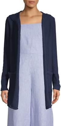 Pure Navy Hooded Cotton Slub Cardigan