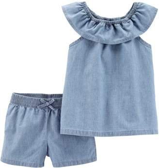 Carter's Toddler Girl Chambray Top & Shorts Set