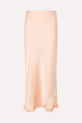 Paco Rabanne Ruffle-trimmed Satin Maxi Skirt - Peach