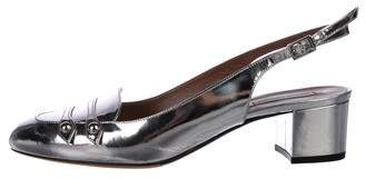 Tabitha Simmons Metallic Slingback Low-Heel Pumps