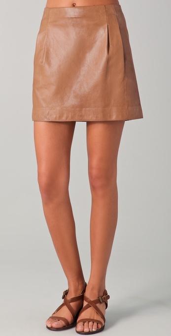 Vince Leather Miniskirt