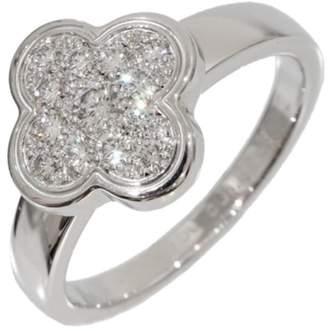 Van Cleef & Arpels 18K White Gold Diamond Flower Design Ring Size 5.25