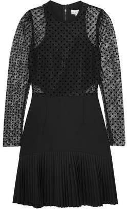 Rebecca Vallance Gabriella Flocked Lace And Crepe Mini Dress - Black