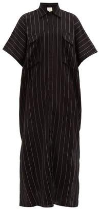 Marrakshi Life - Pinstriped Woven Cotton Blend Kaftan - Mens - Black Multi