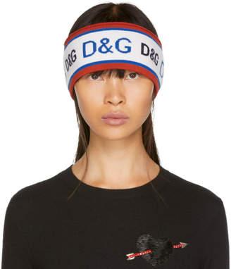 Dolce & Gabbana Red and Blue Knit Logo Headband