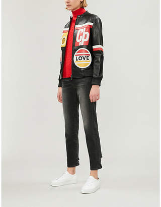 Claudie Pierlot Calling contrast-panel leather jacket