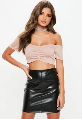 Missguided Petite Blush Off Shoulder Slinky Ribbed Crop Top