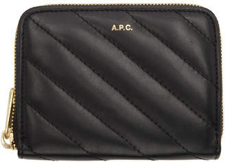 A.P.C. Black Lison Quilted Compact Wallet