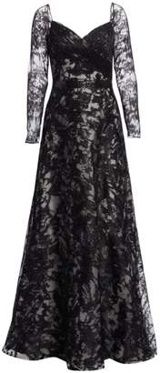 Rene Ruiz Collection Embroidered Long Sleeve Gown