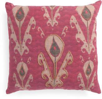 22x22 Natural Linen Ikat Print Pillow