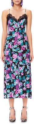 AFRM Sanders Lace Trim Floral Midi Dress