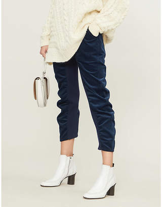 Stella McCartney Ruched skinny cropped cotton-corduroy trousers
